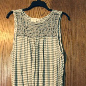 Tops - Grey & White Lace Tank Top